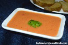 tomato garlic chutney, tomato sauce recipe hindi, टमाटर लहसुन की चटनी