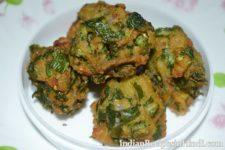 mooli ke patto ke pakore, मूली के पत्ते के पकोड़े, radish leaves fritters recipe