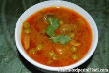matar mushroom ki sabji, मटर मशरूम की सब्जी, restaurant style sabji in Hindi